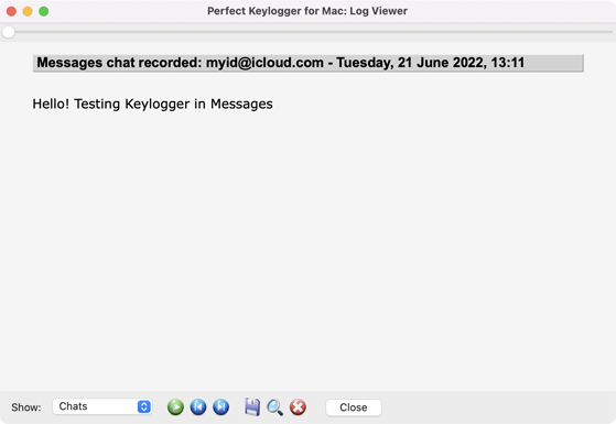 Perfect Keylogger for Mac - Chats in a log viewer