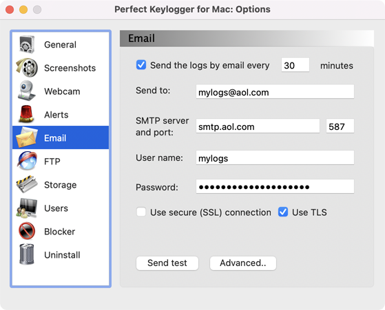 Perfect Keylogger for Mac Full - Email settings