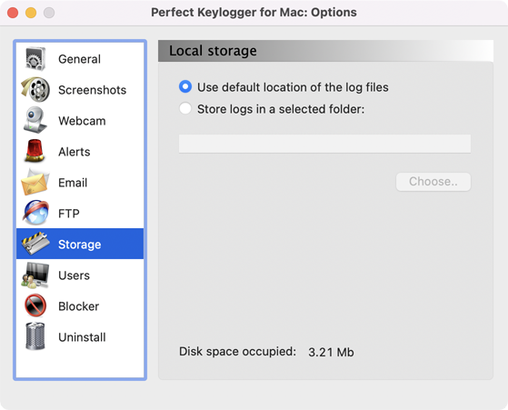 Perfect Keylogger for Mac Full - storage settings