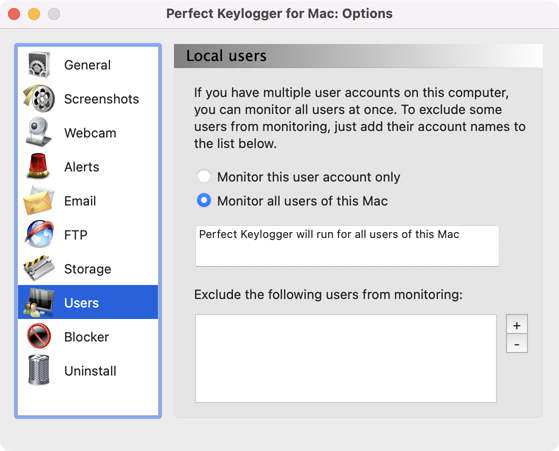 Perfect Keylogger for Mac Full - users settings