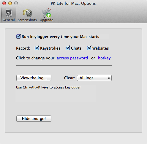 Perfect Keylogger for Mac Lite - General